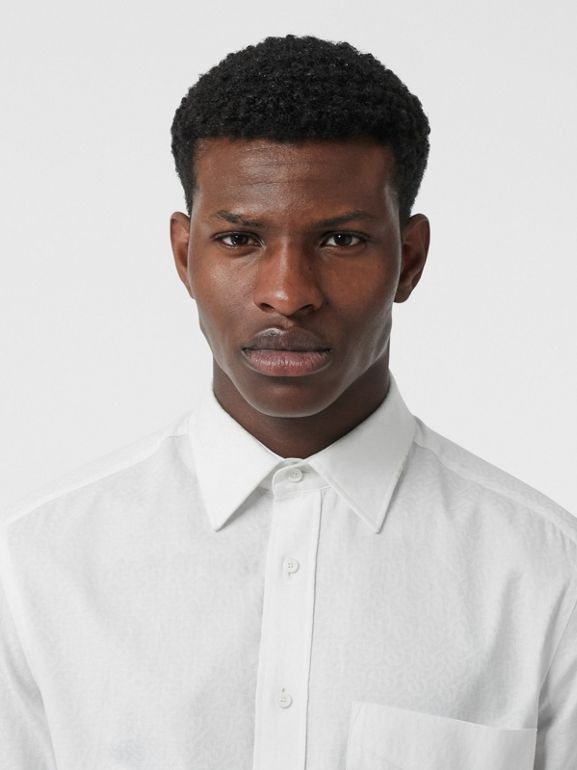 Classic Fit Monogram Cotton Jacquard Shirt in White - Men | Burberry - cell image 1