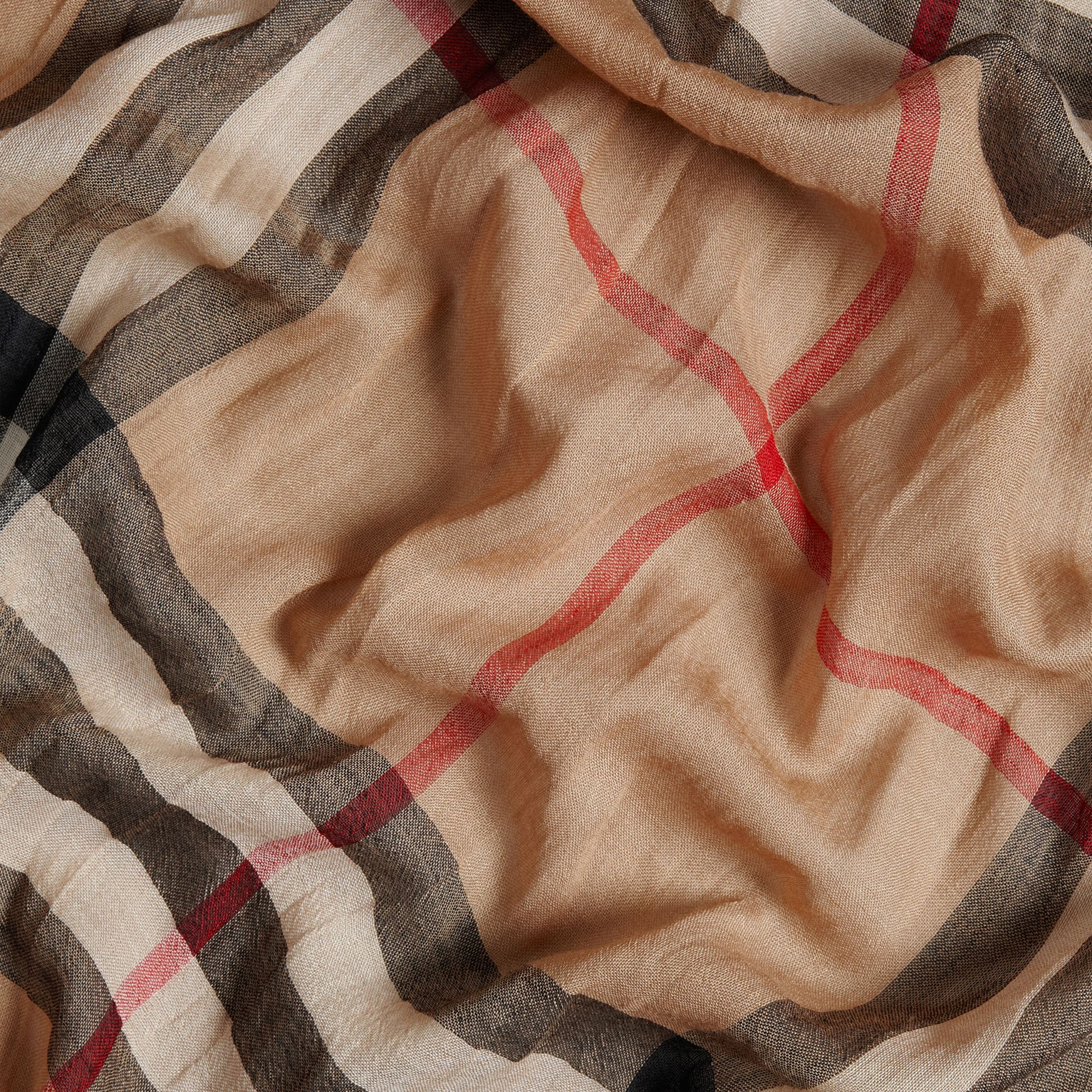 Lightweight Check Wool and Silk Scarf Camel - gallery image 2