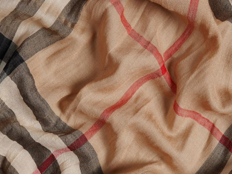 Lightweight Check Wool and Silk Scarf Camel - cell image 1