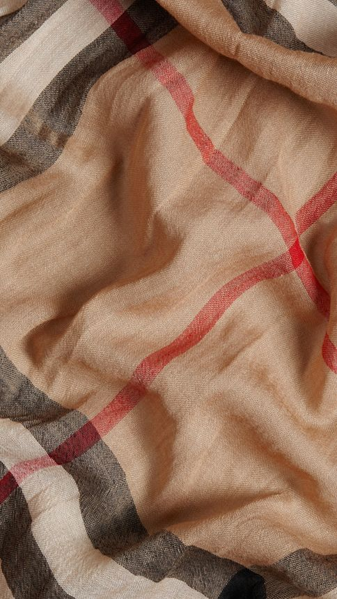Camel check Lightweight Check Wool and Silk Scarf Camel - Image 2