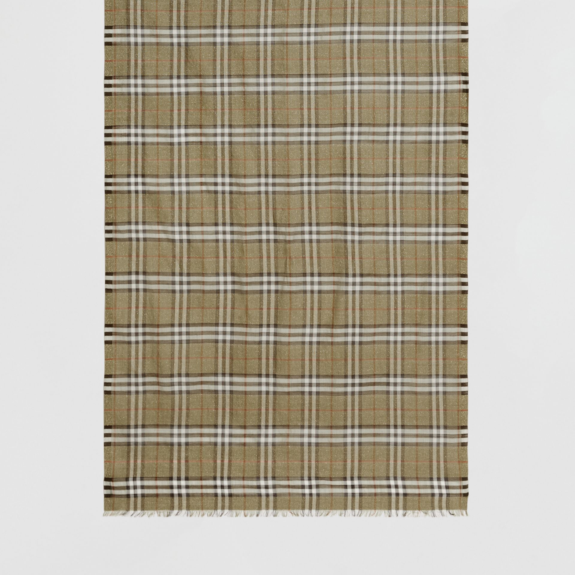 Metallic Check Wool Silk Blend Scarf in Pale Powder Green | Burberry Australia - gallery image 3