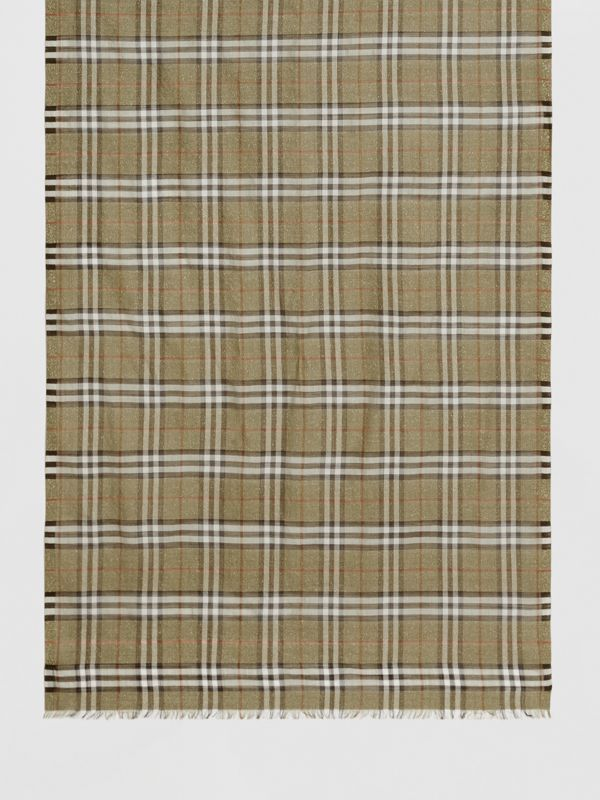 Metallic Check Wool Silk Blend Scarf in Pale Powder Green | Burberry Singapore - cell image 3
