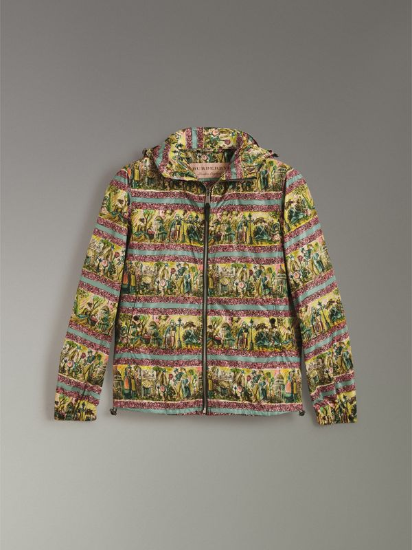Figurative Print Lightweight Technical Hooded Jacket in Turquoise Green - Men | Burberry - cell image 3