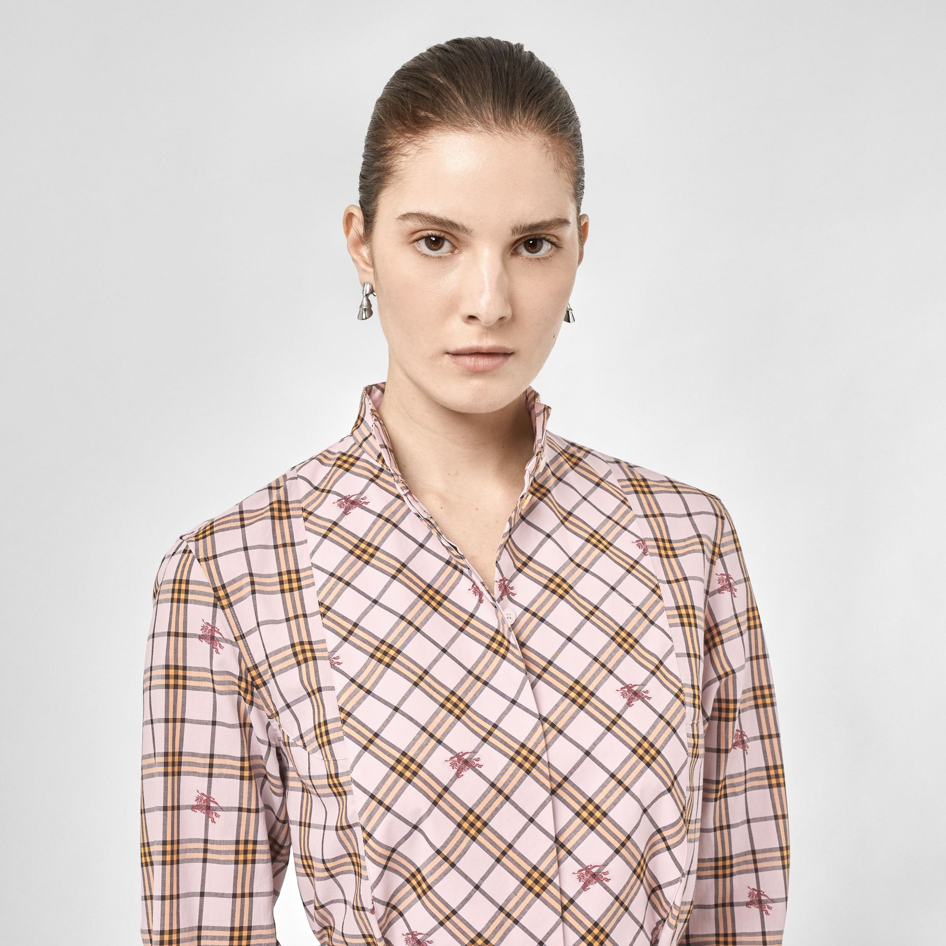 EKD Check Cotton Tie-waist Shirt Dress in Alabaster Pink - Women | Burberry - gallery image 1
