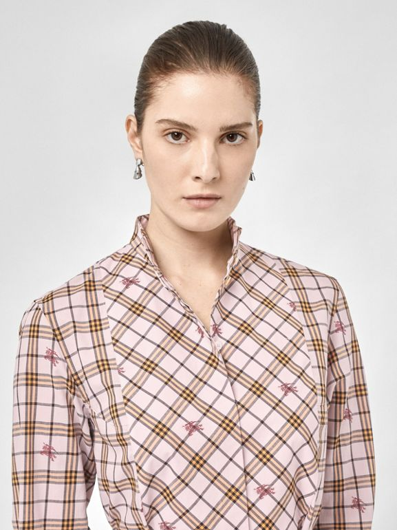 EKD Check Cotton Tie-waist Shirt Dress in Alabaster Pink - Women | Burberry United Kingdom - cell image 1
