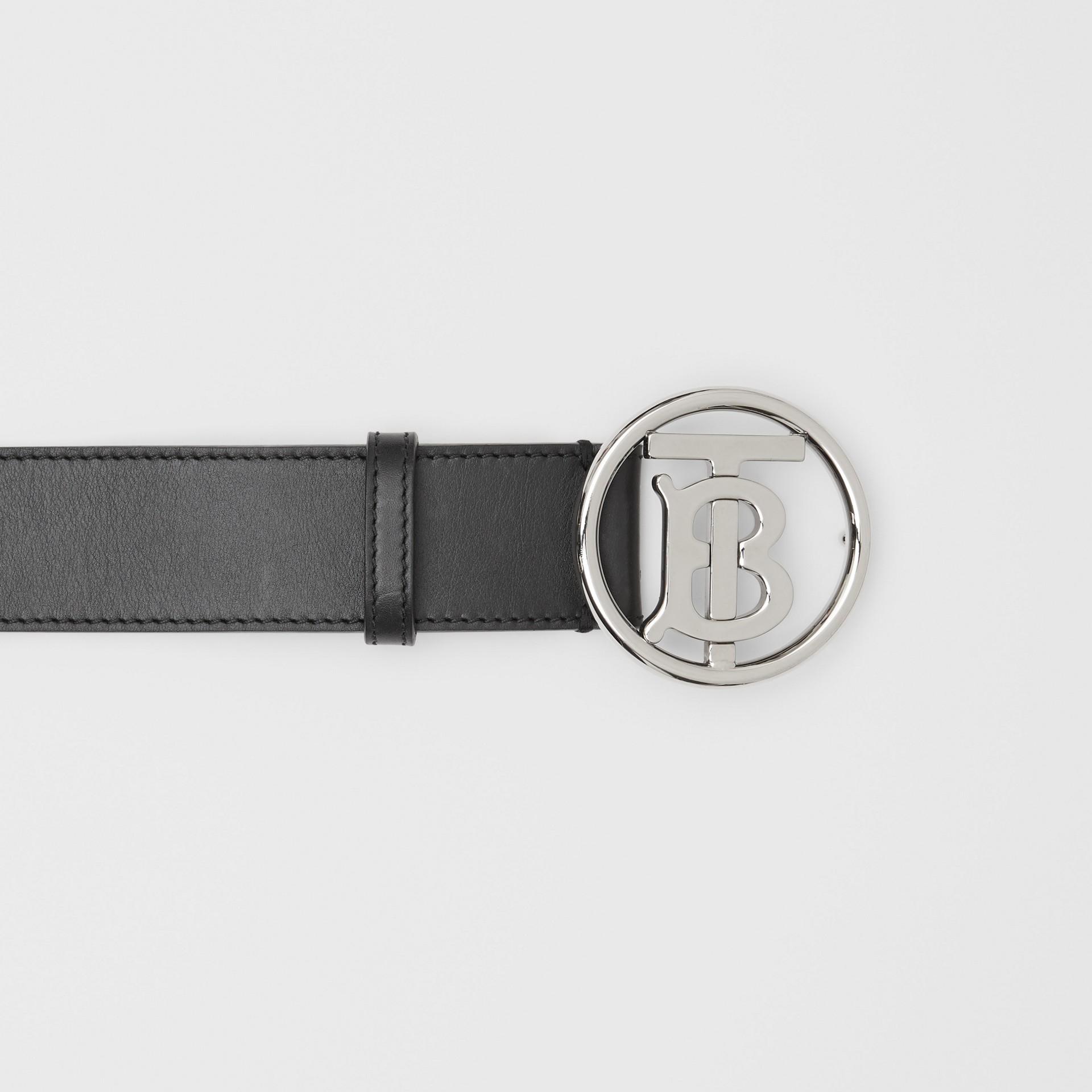 Monogram Motif Leather Belt in Black - Men | Burberry - gallery image 1