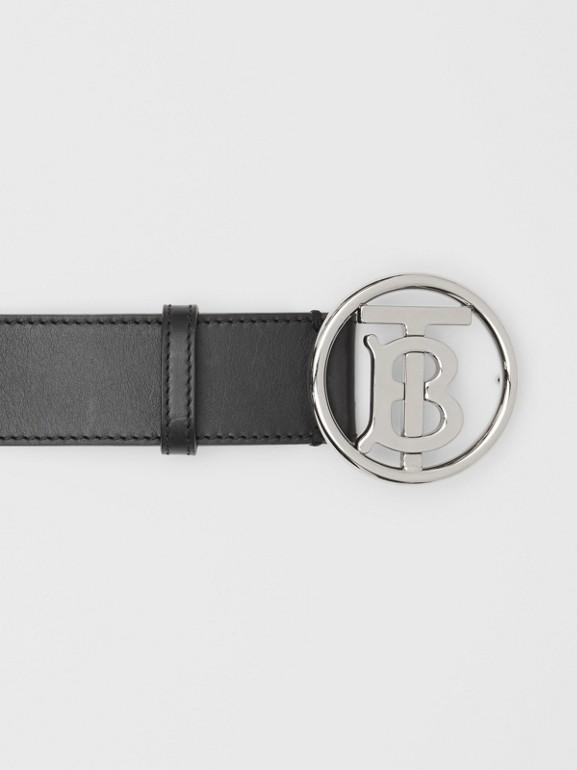 Monogram Motif Leather Belt in Black - Men | Burberry - cell image 1