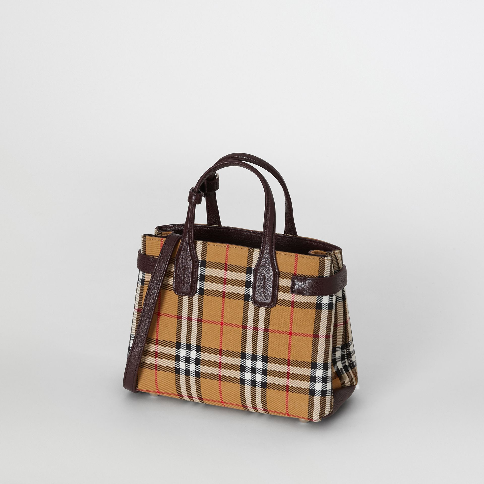 The Small Banner in Vintage Check and Leather in Deep Claret - Women | Burberry - gallery image 4