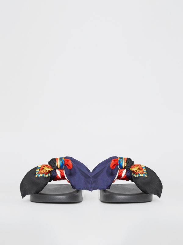 Archive Scarf Print Silk Bow Slides in Bright Red/navy - Women | Burberry United Kingdom - cell image 3