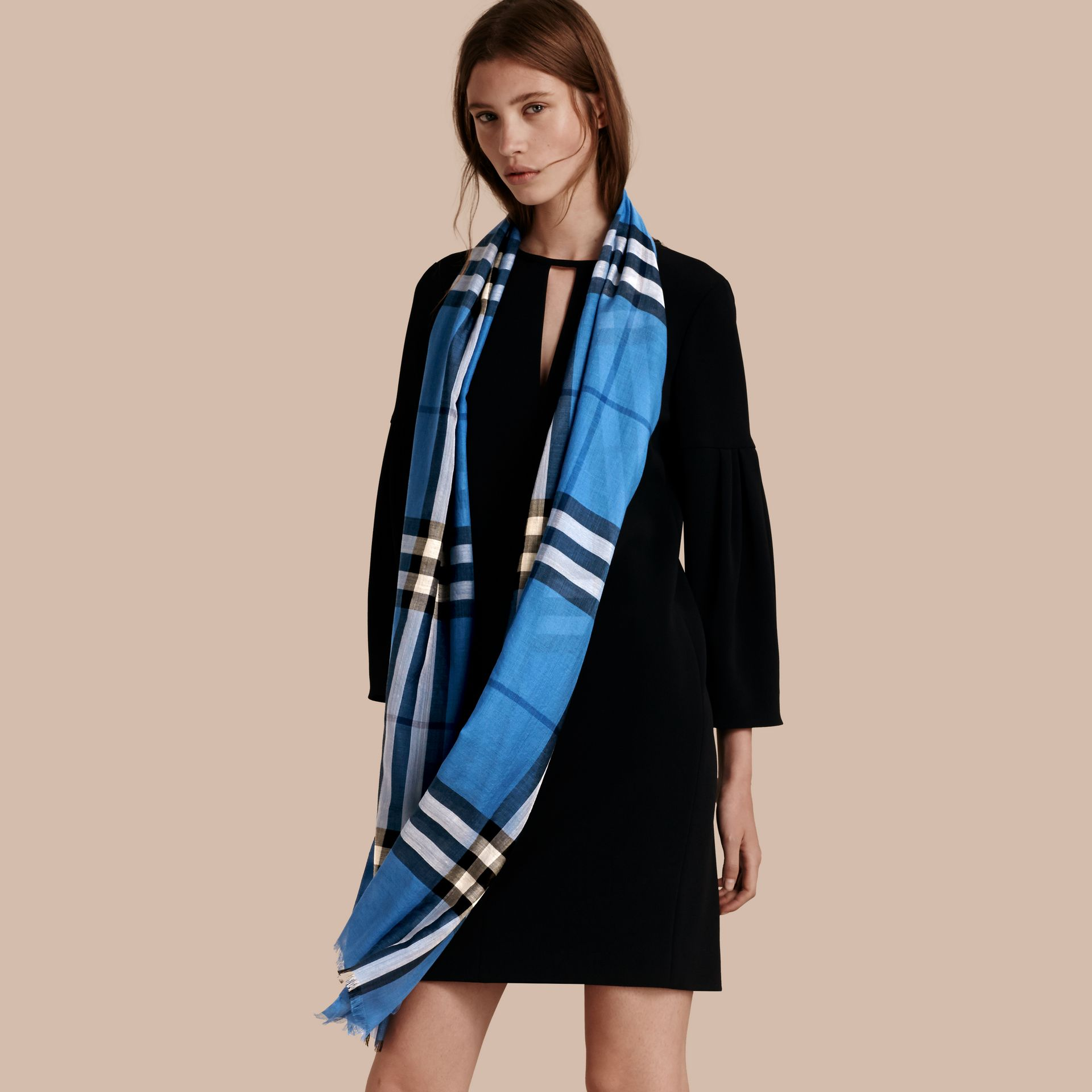 Lightweight Check Wool and Silk Scarf in Cornflower Blue - gallery image 3