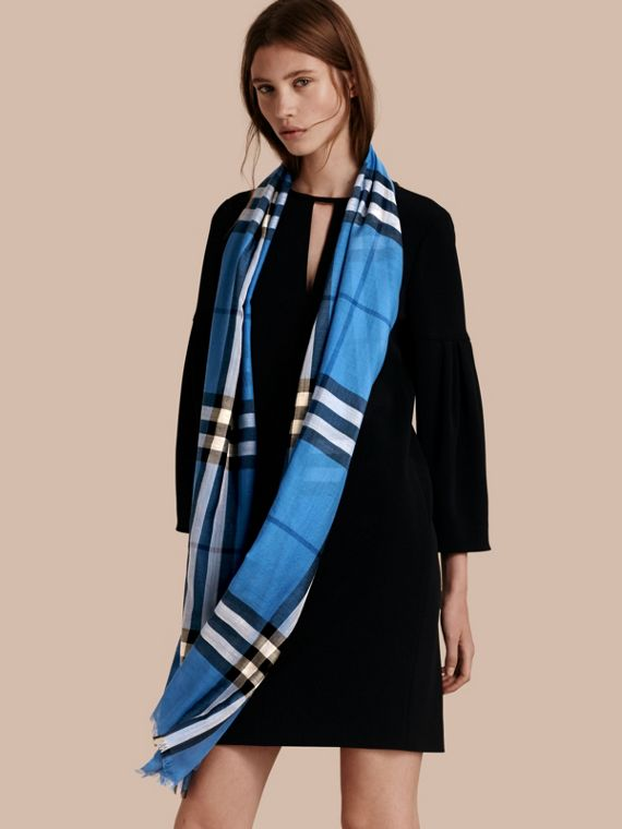 Lightweight Check Wool and Silk Scarf in Cornflower Blue - cell image 2