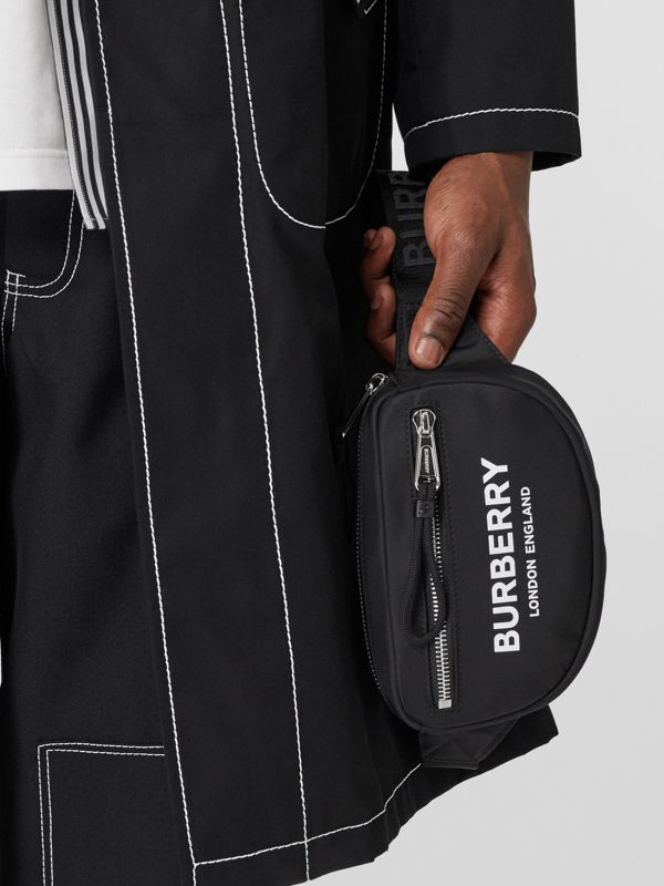 Small Logo Print ECONYL® Cannon Bum Bag in Black | Burberry - cell image 2