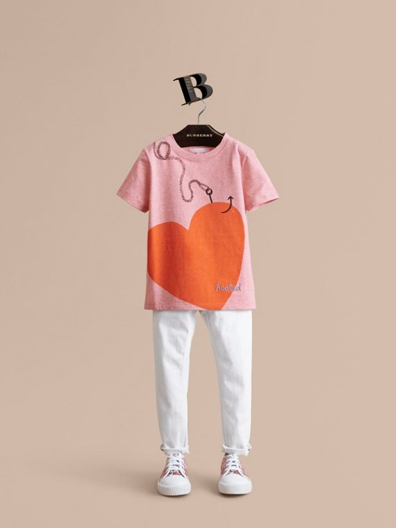 Hooked Heart Motif Cotton T-shirt in Light Copper Pink Melange