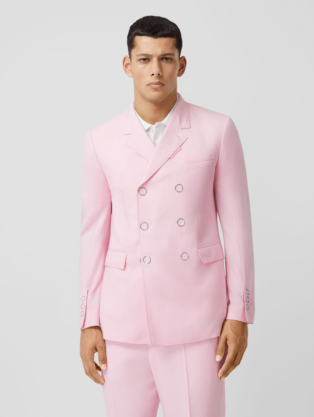 Slim Fit Press-stud Tumbled Wool Tailored Jacket in Candy Pink