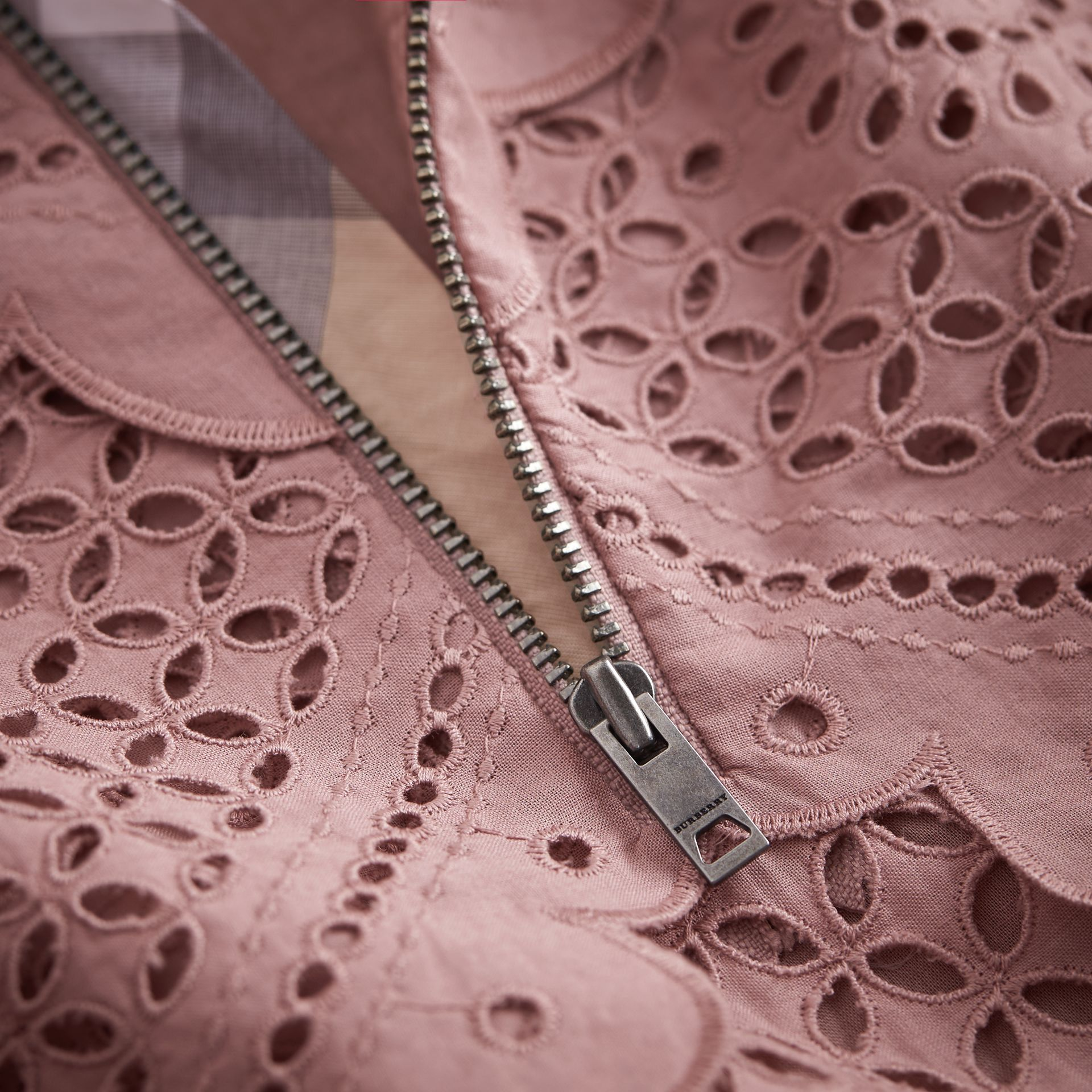 Layered Broderie Anglaise Cotton Dress in Dusty Pink | Burberry - gallery image 2