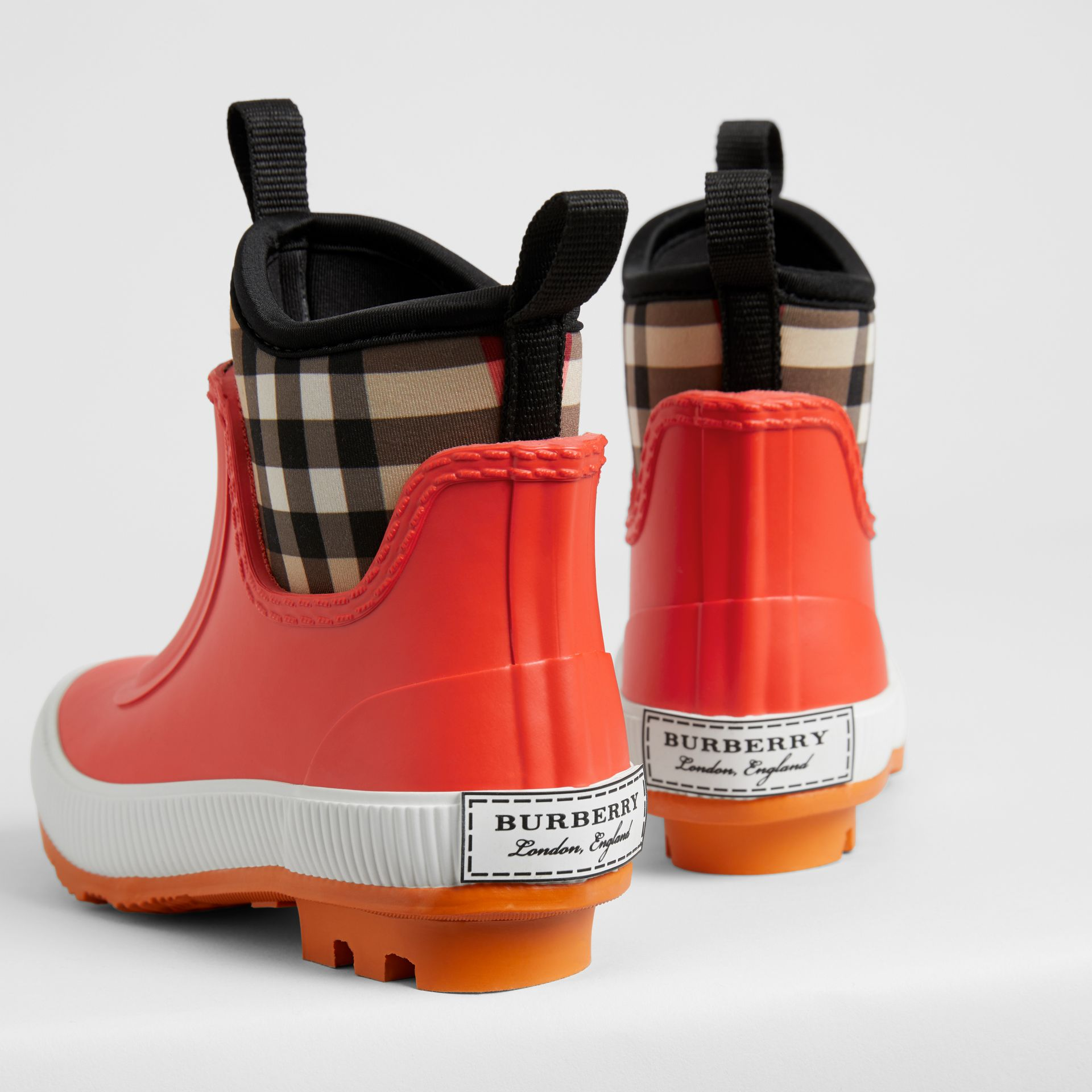 Vintage Check Neoprene and Rubber Rain Boots in Bright Red - Children | Burberry Singapore - gallery image 2