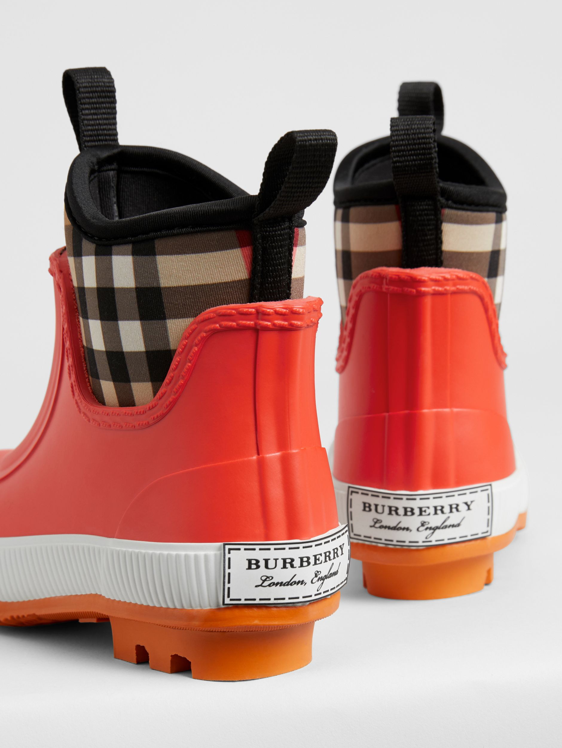 Vintage Check Neoprene and Rubber Rain Boots in Bright Red - Children | Burberry Australia - 3