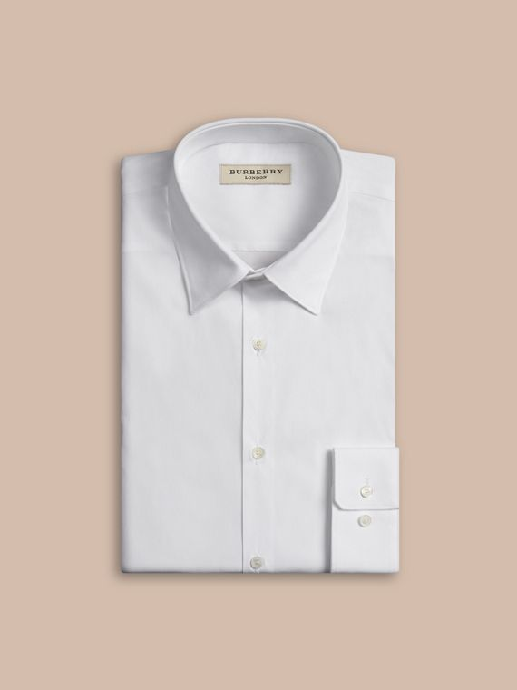 Slim Fit Stretch Cotton Shirt in White - Men | Burberry Singapore