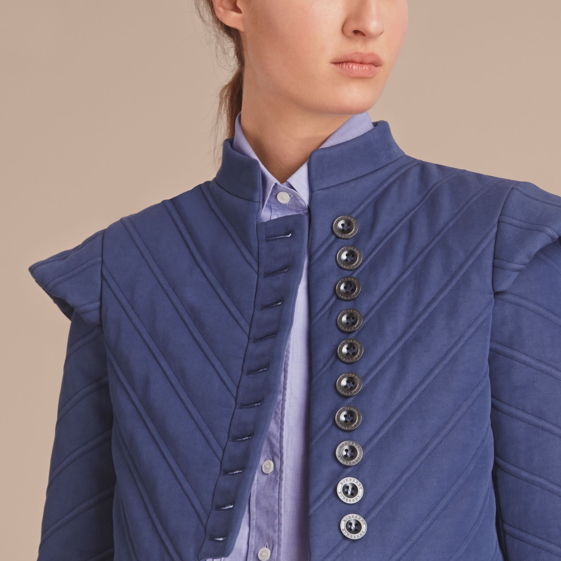 Quilted Ramie Cotton Military Jacket in Indigo - Women | Burberry - gallery image 5