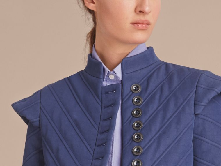 Quilted Ramie Cotton Military Jacket in Indigo - Women | Burberry - cell image 4