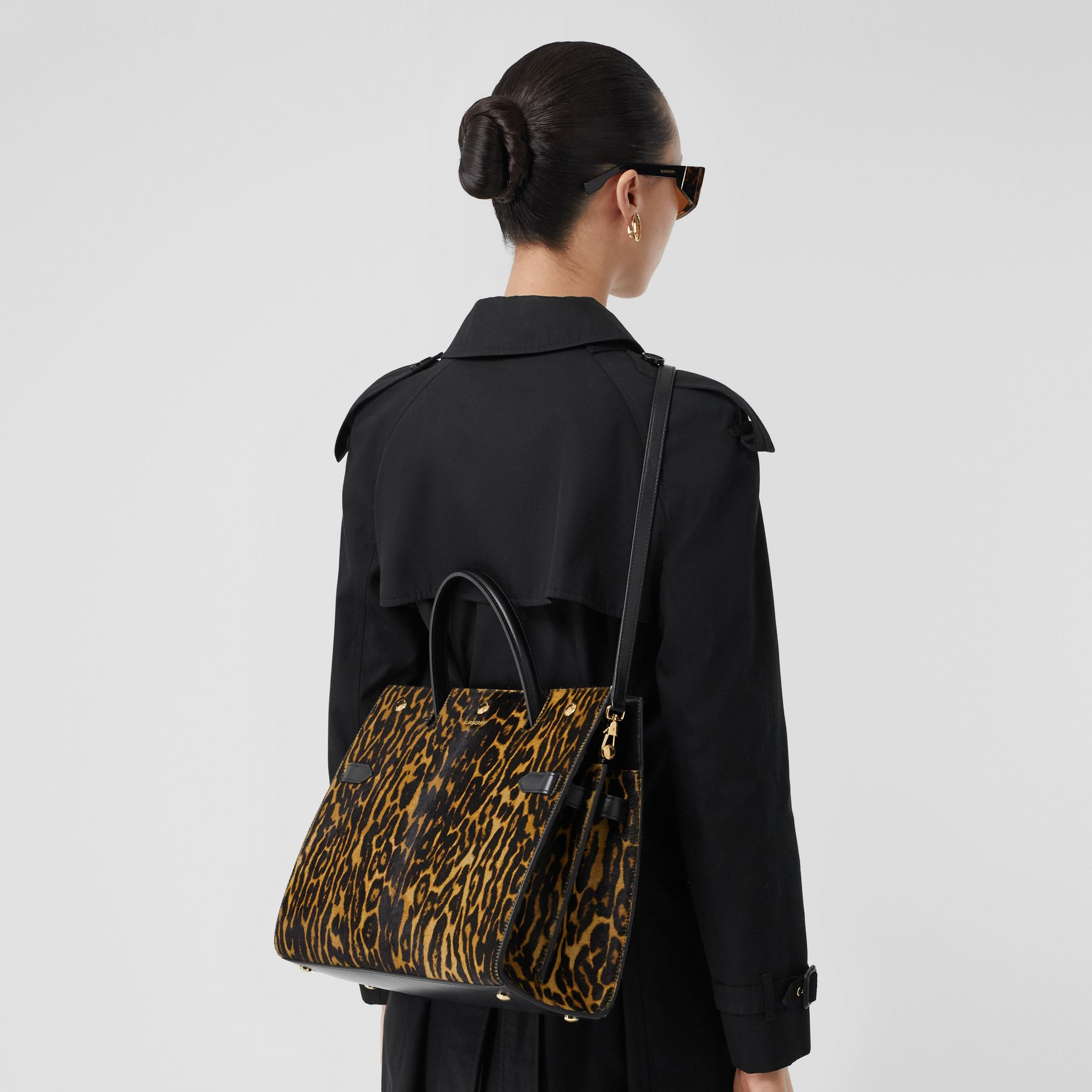 Medium Leopard Print Calf Hair and Leather Title Bag in Black - Women | Burberry United States - gallery image 8