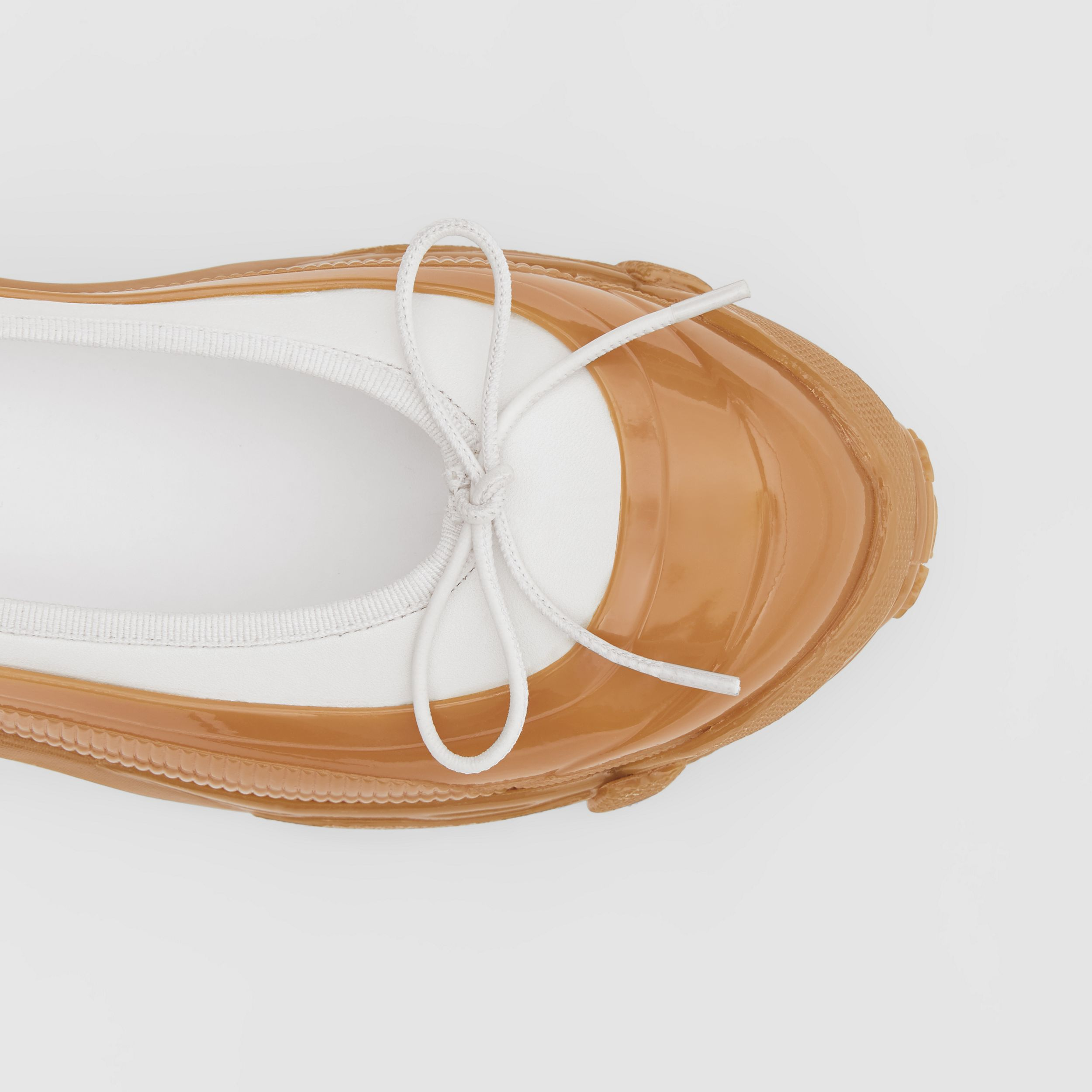 Overshoe Detail Lambskin Flats in White/amber - Women | Burberry - 2