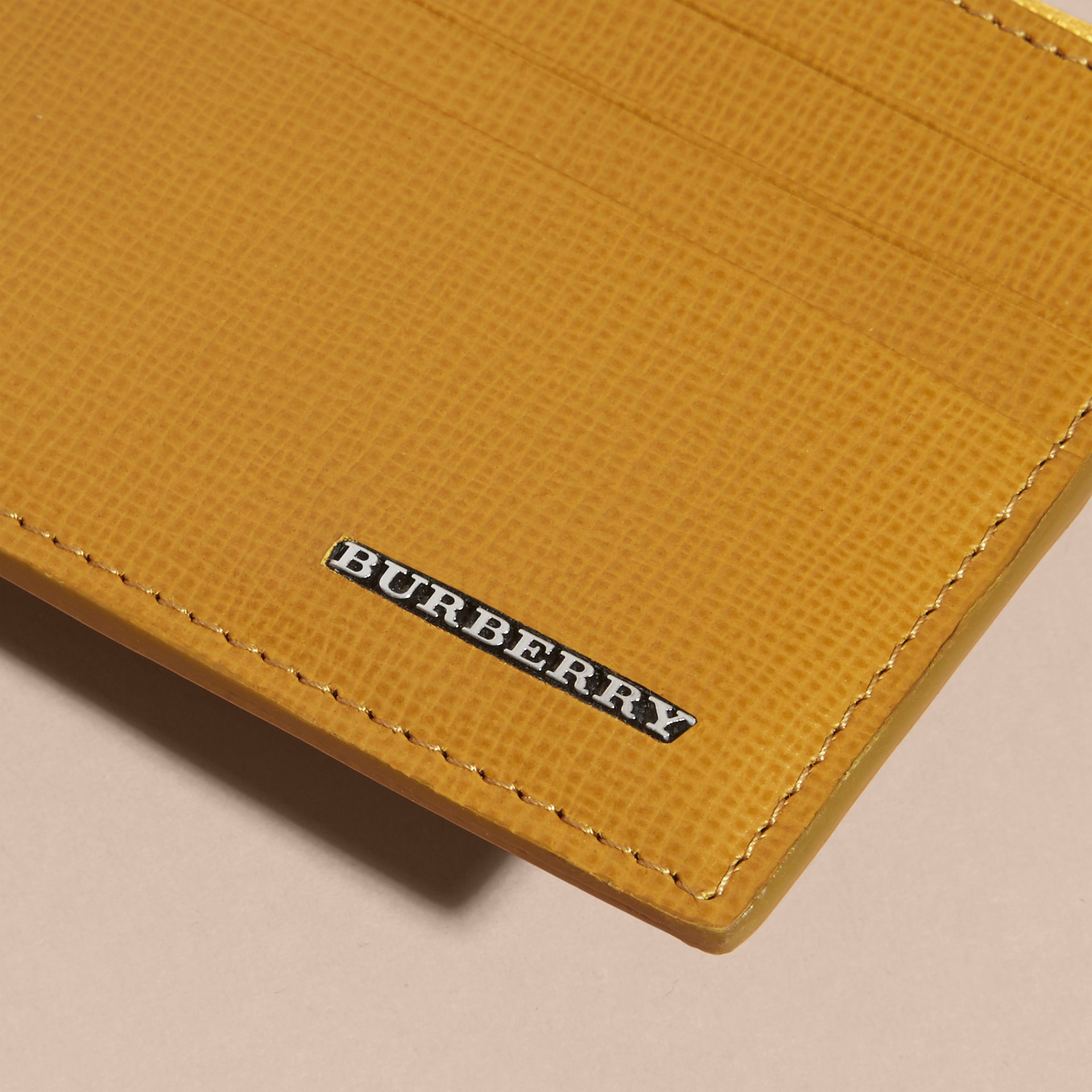 London Leather Zip-top Card Case in Larch Yellow - gallery image 2