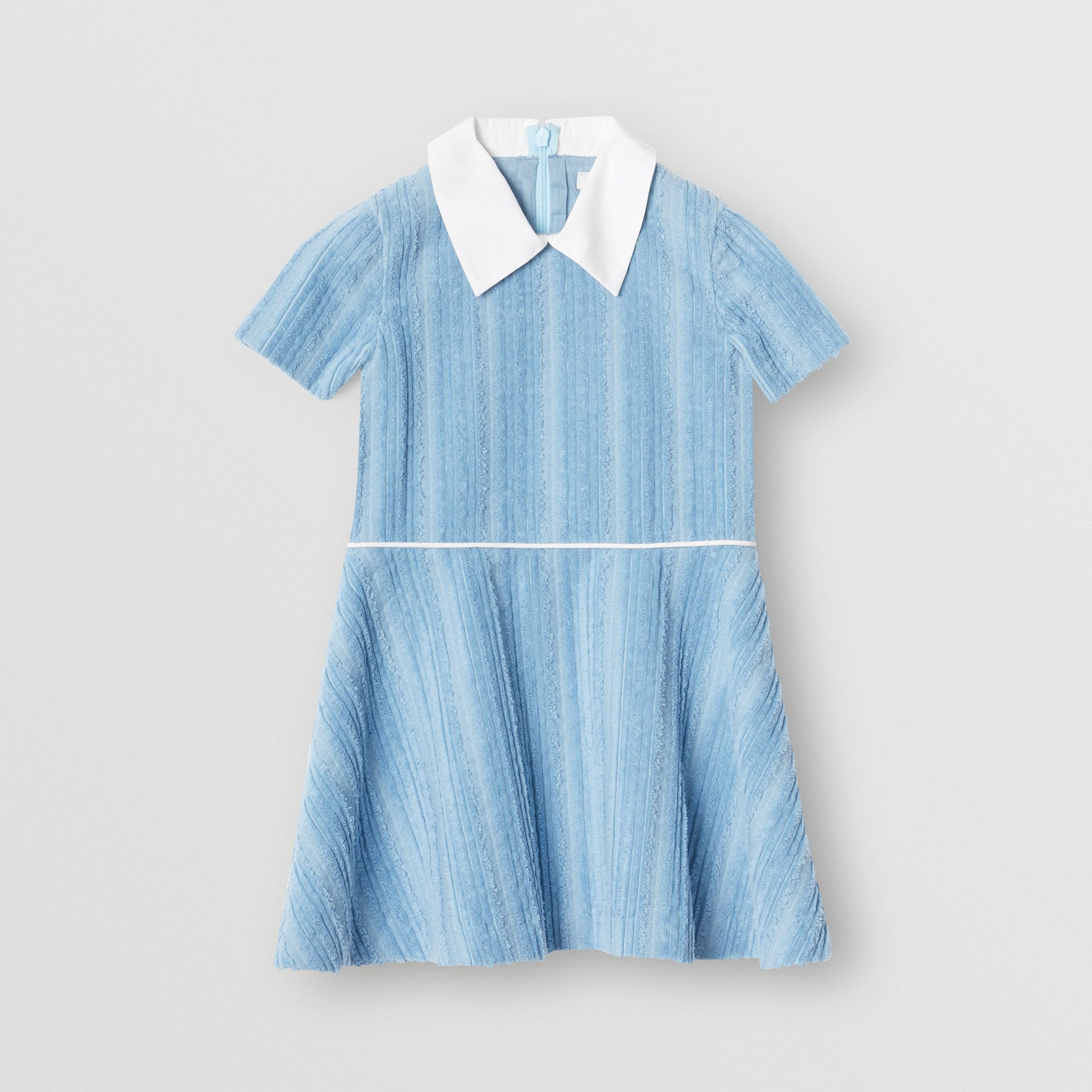 Peter Pan Collar Corduroy Dress in Powder Blue | Burberry - gallery image 0