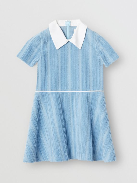 Peter Pan Collar Corduroy Dress in Powder Blue