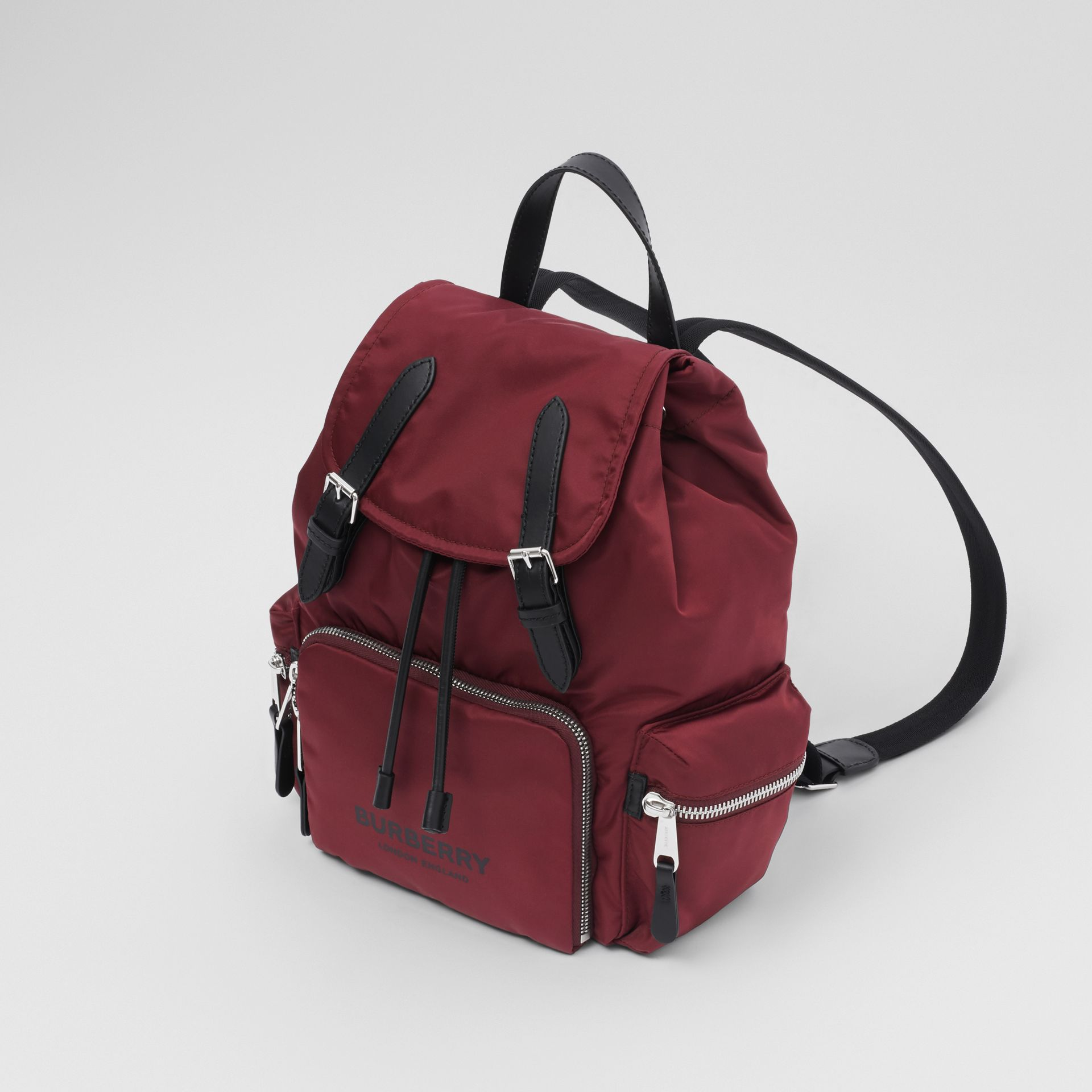 The Medium Rucksack in Logo Print ECONYL® in Burgundy - Women | Burberry - gallery image 2