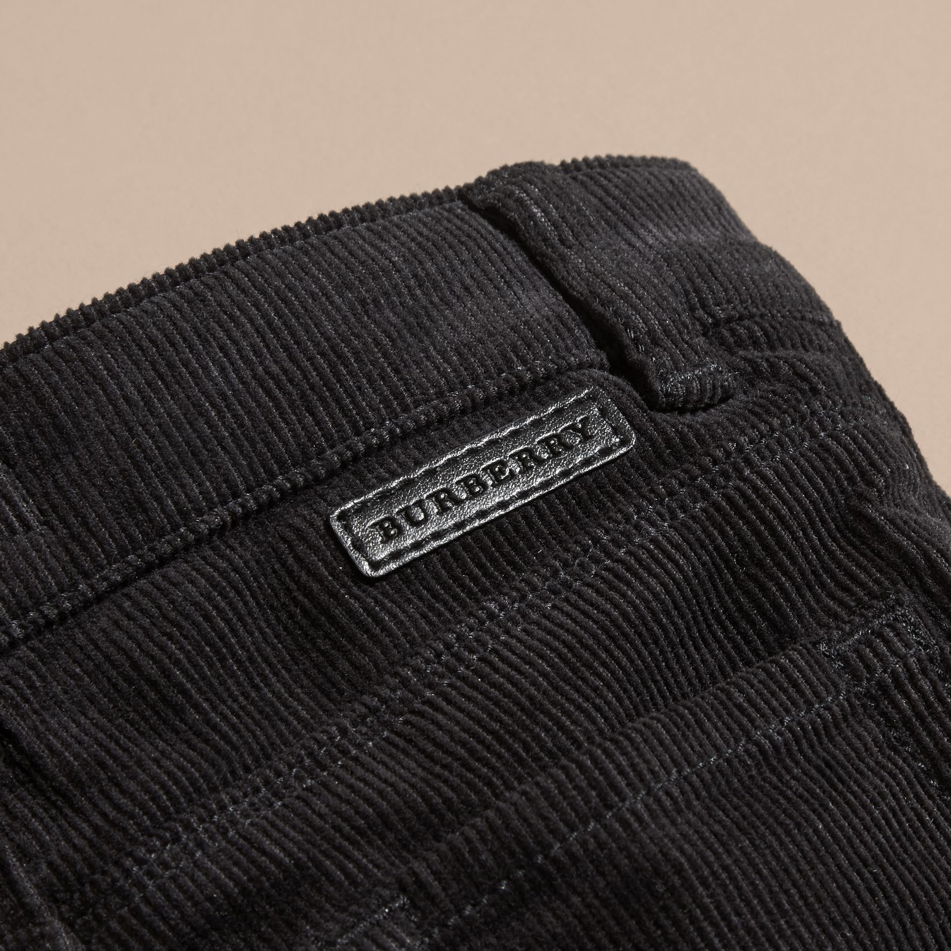 Black Stretch Corduroy Trousers - gallery image 2
