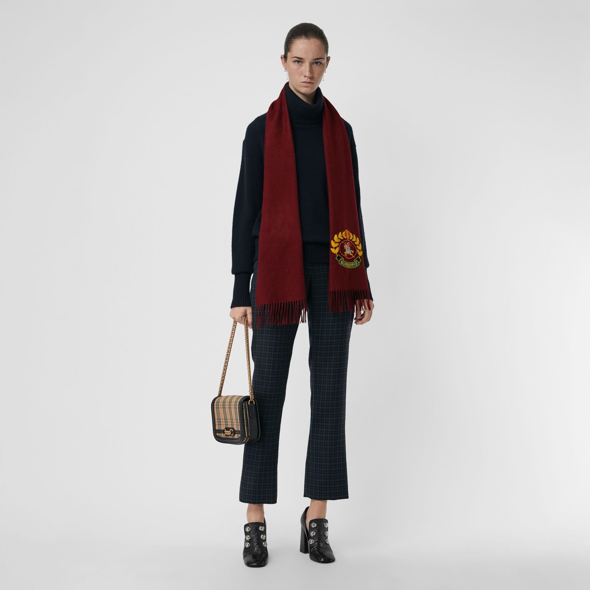 The Classic Cashmere Scarf with Archive Logo in Claret | Burberry United States - gallery image 2