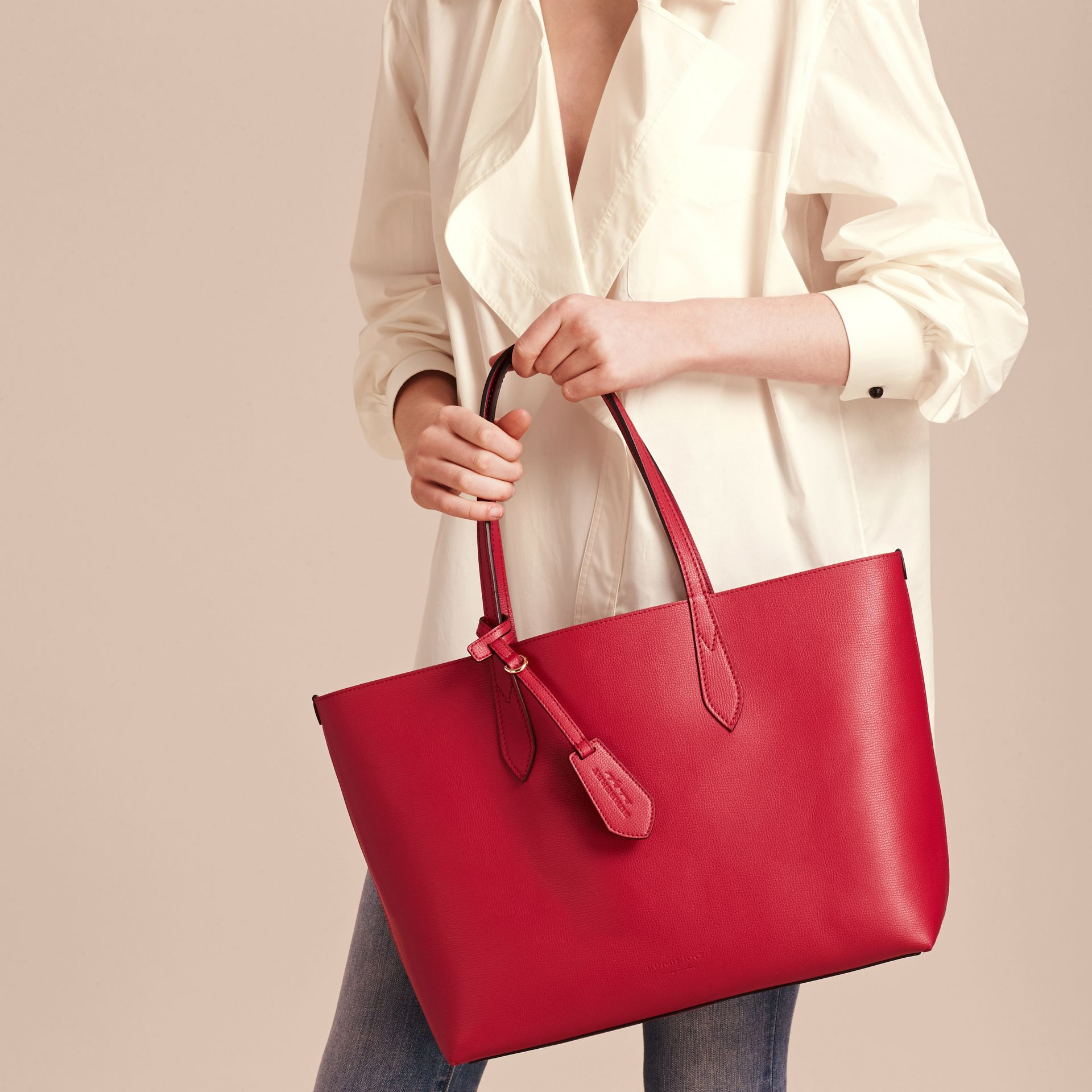The Medium Reversible Tote in Haymarket Check and Leather Poppy Red - gallery image 3