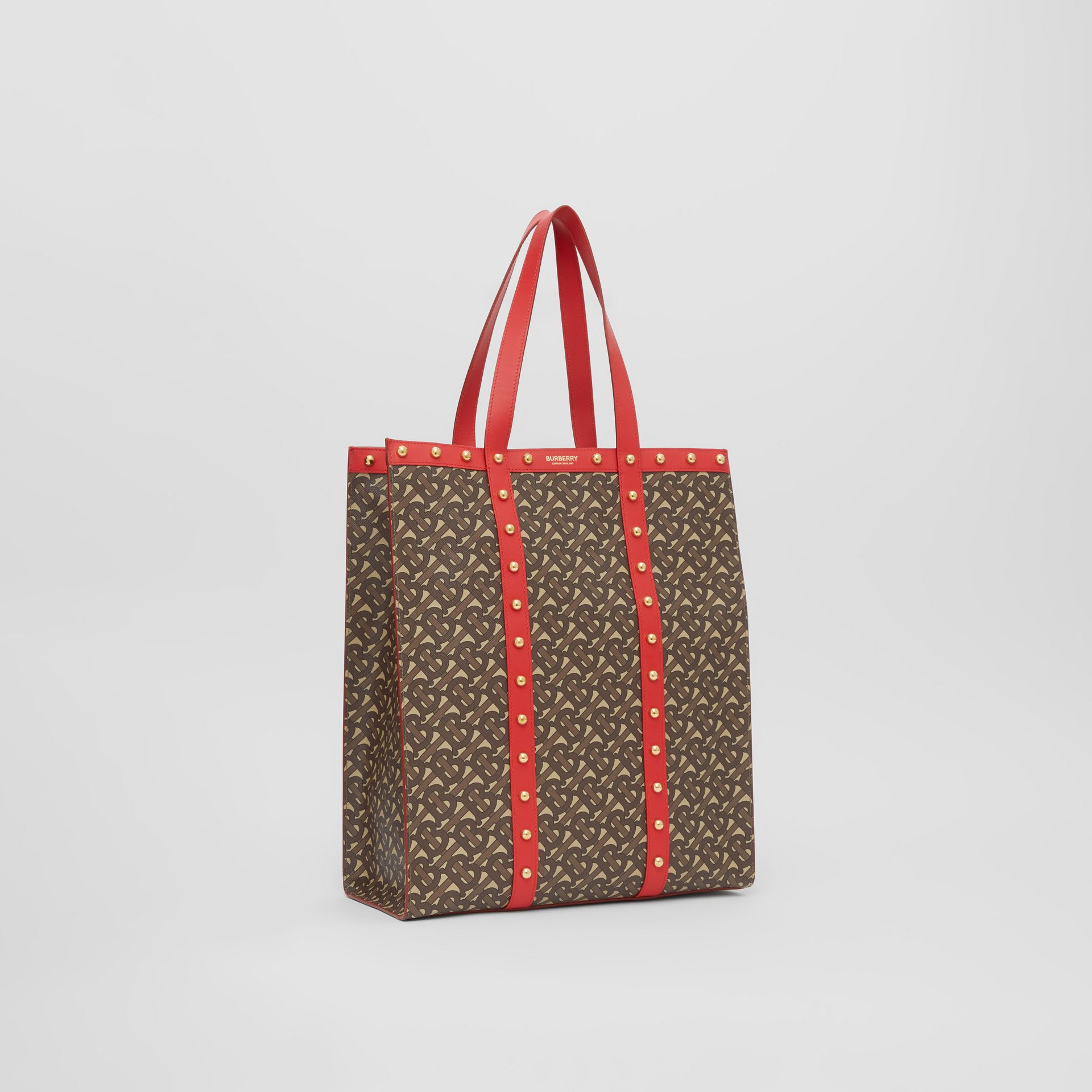 Monogram Print E-canvas Portrait Tote Bag in Bright Red - Women | Burberry - gallery image 8