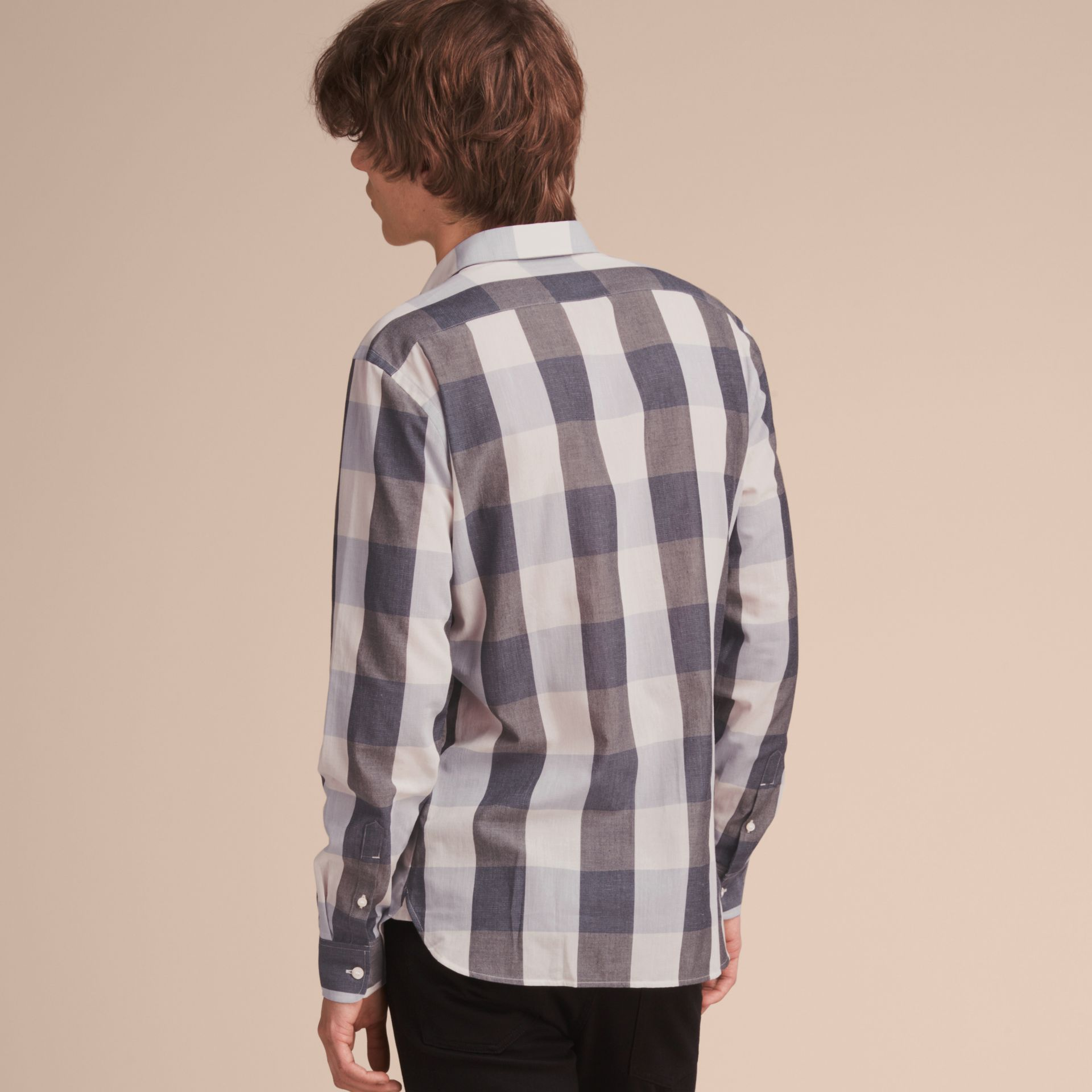 Oversize Gingham Cotton Linen Shirt in Pale Cornflower Blue - gallery image 3