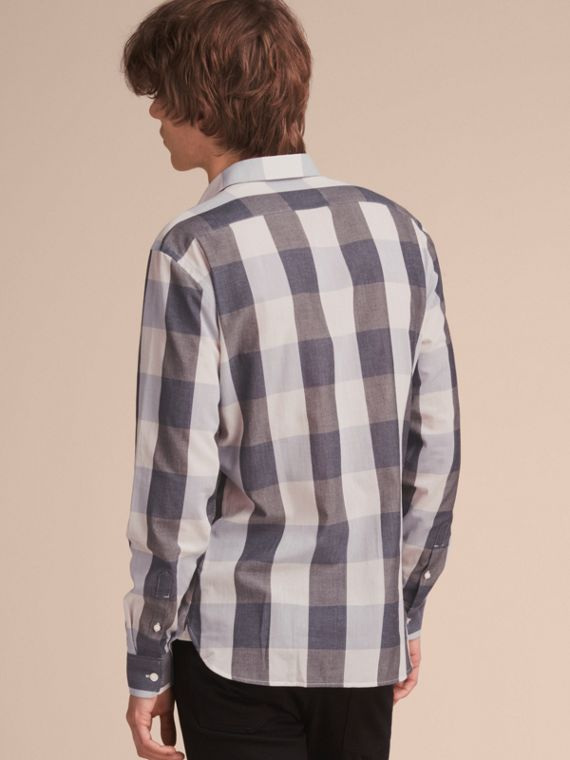 Oversize Gingham Cotton Linen Shirt in Pale Cornflower Blue - cell image 2
