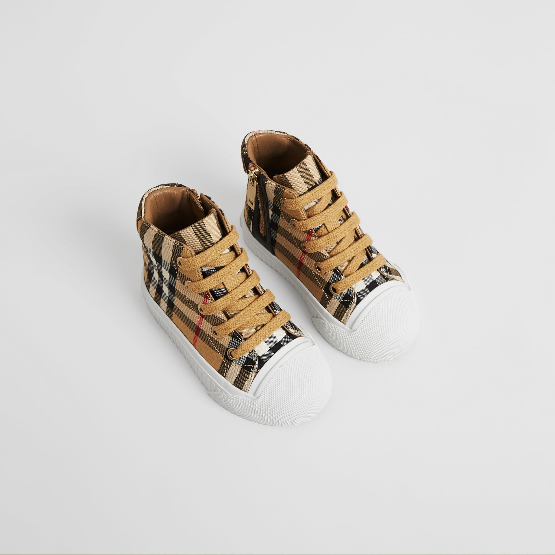 Vintage Check and Leather High-top Sneakers in Antique Yellow/optic White - Children | Burberry - gallery image 0