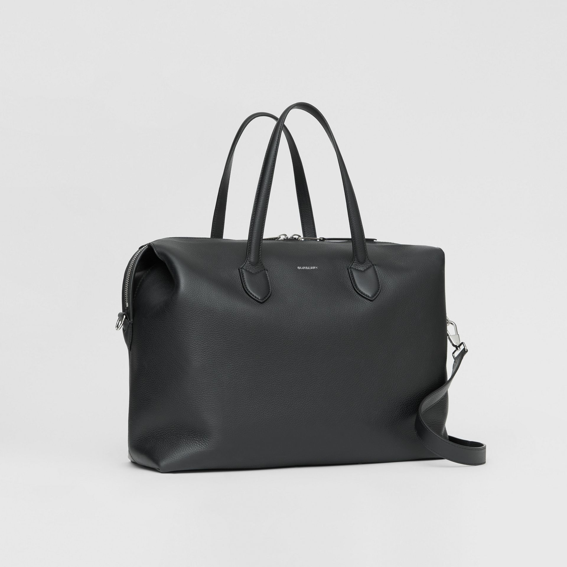 Grainy Leather Holdall in Black - Men | Burberry - gallery image 6
