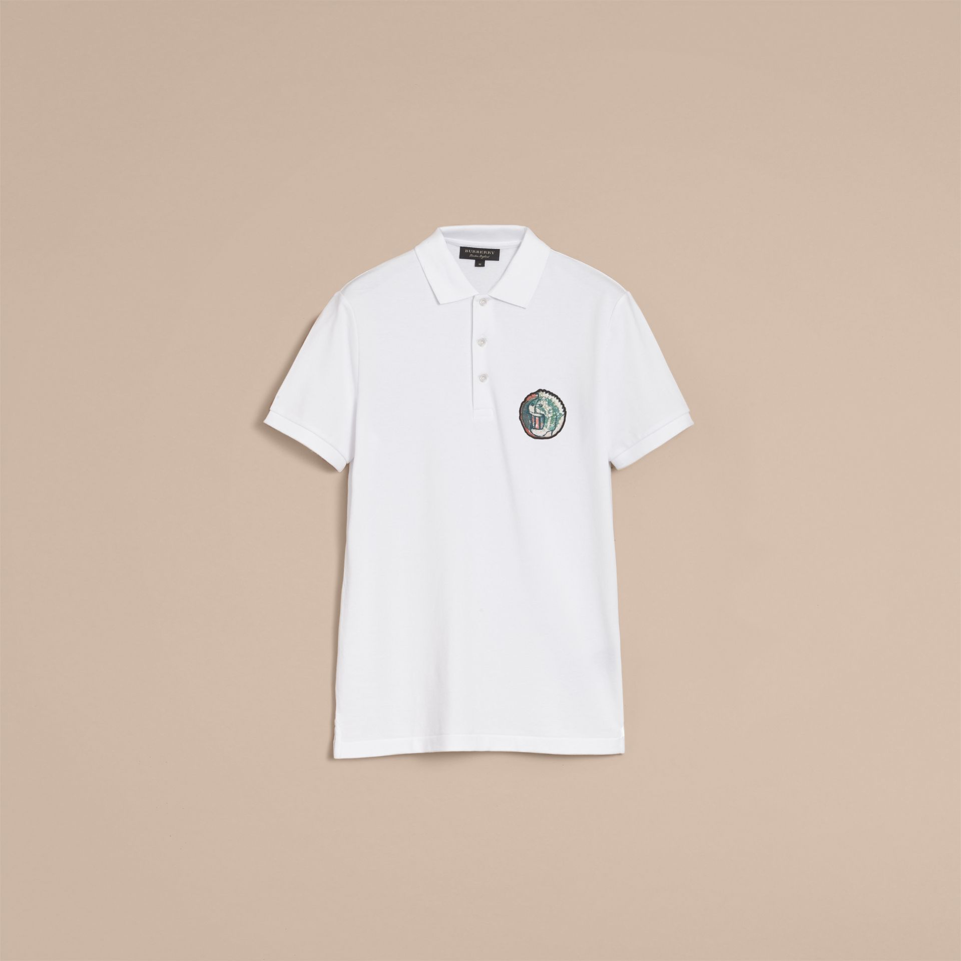 Pallas Heads Appliqué Cotton Polo Shirt in White - Men | Burberry Singapore - gallery image 4