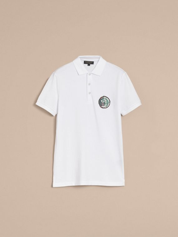 Pallas Heads Appliqué Cotton Polo Shirt in White - Men | Burberry Singapore - cell image 3