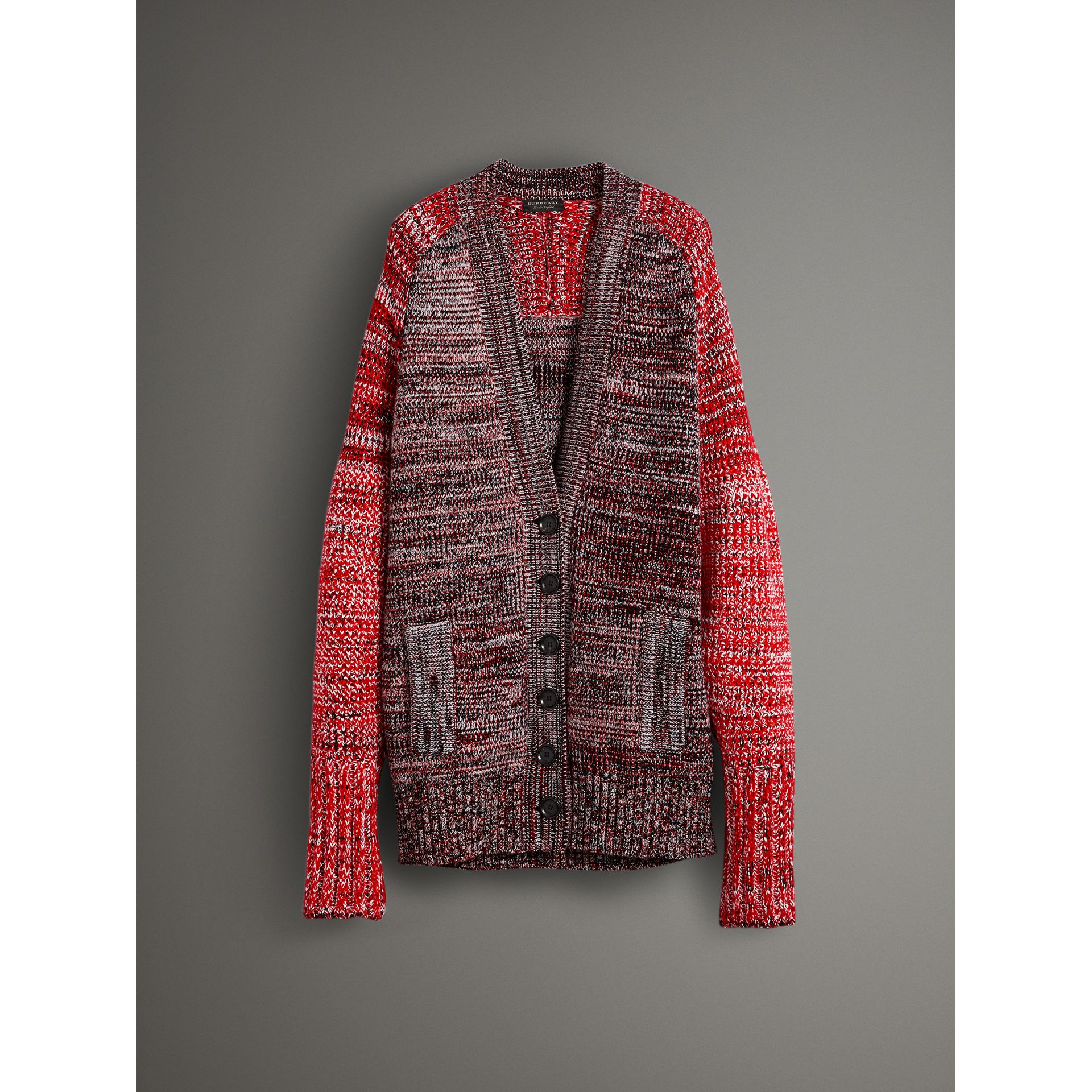 Cashmere Wool Blend Mouliné Oversized Cardigan in Red/black - Women | Burberry Australia - gallery image 3