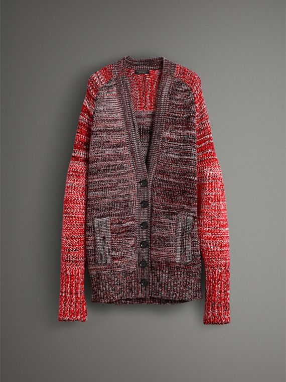 Cashmere Wool Blend Mouliné Oversized Cardigan in Red/black - Women | Burberry - cell image 3