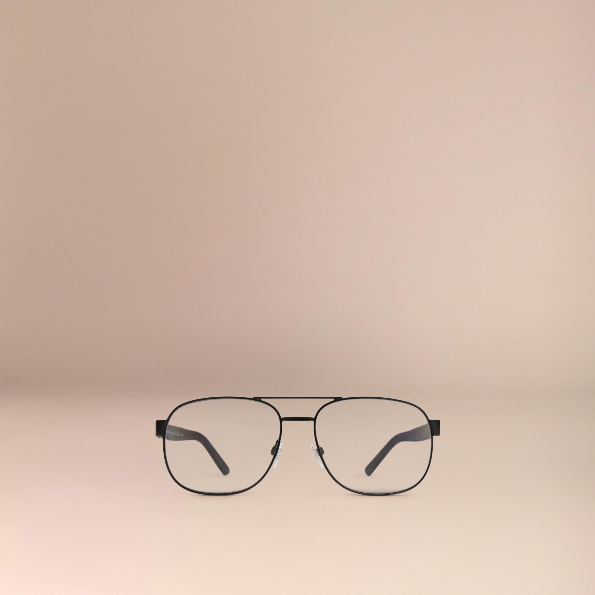 Matt black Square Frame Aviator Polarised Sunglasses Matt Black - gallery image 3