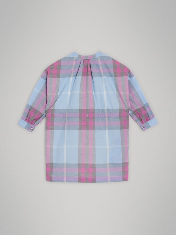 Check Cotton Shirt Dress in Chalk Blue | Burberry - cell image 3