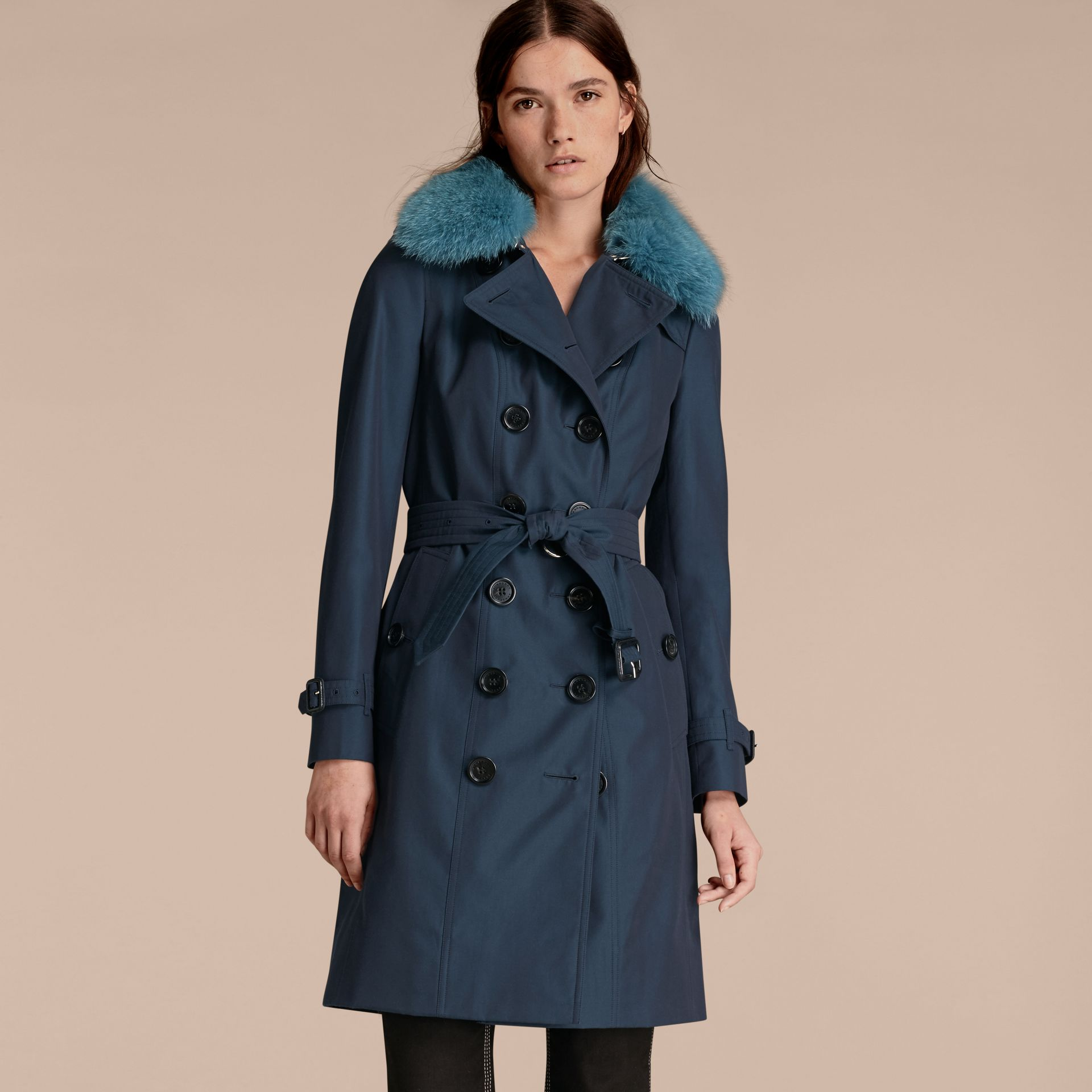 Teal blue Cotton Gabardine Trench Coat with Detachable Fur Collar and Warmer Teal Blue - gallery image 7