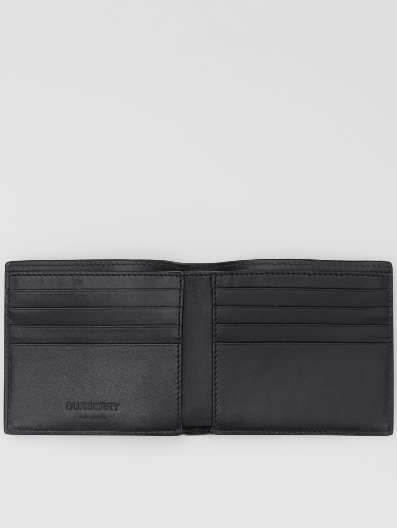 Logo and Icon Stripe Print International Bifold Wallet in Black