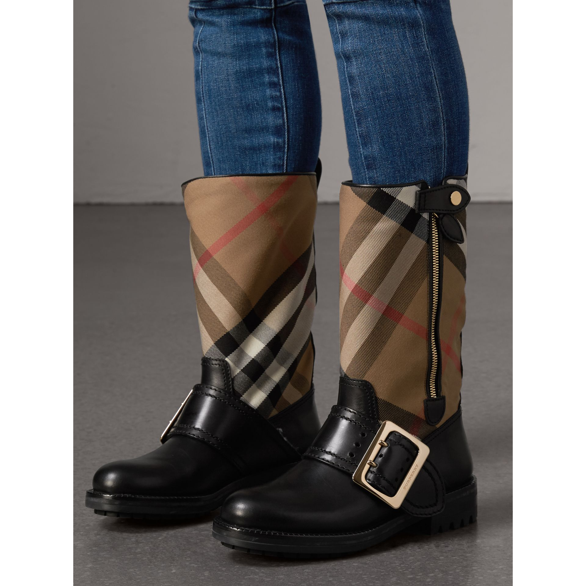 House Check Buckle Detail Leather Boots in Classic - Women | Burberry United States - gallery image 3
