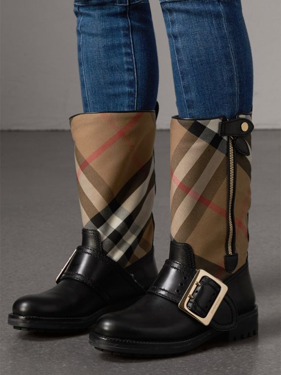 House Check Buckle Detail Leather Boots in Classic - Women | Burberry - cell image 2