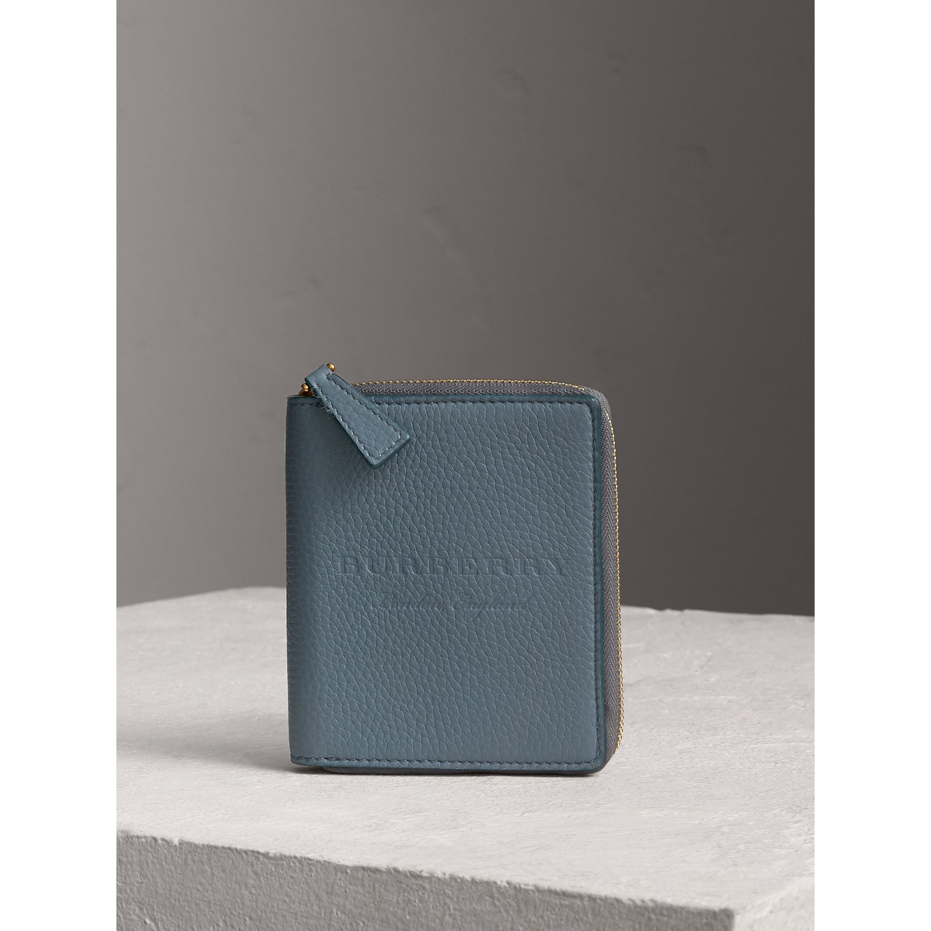 Embossed Grainy Leather Ziparound A6 Notebook Case in Dusty Teal Blue | Burberry - gallery image 4