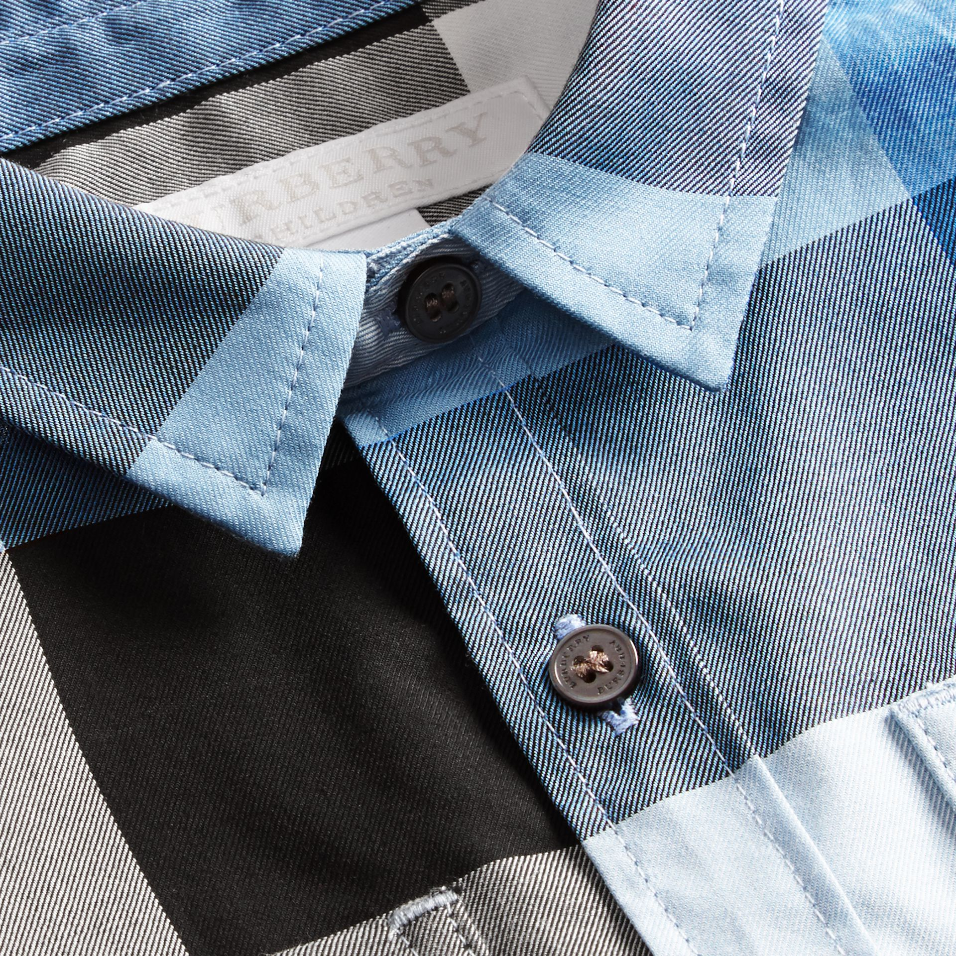 Short-sleeved Check Cotton Shirt Pale Blue - gallery image 2
